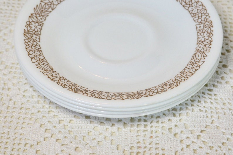 Set of 4 Corelle Saucer Vintage Brown and White Replacement Dishes \u201cWoodland Brown\u201d by Corning