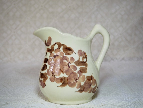 Vtg Cash Family Pottery Creamer, Erwin Tennessee Artwork, Cream and Brown  Small Pitcher
