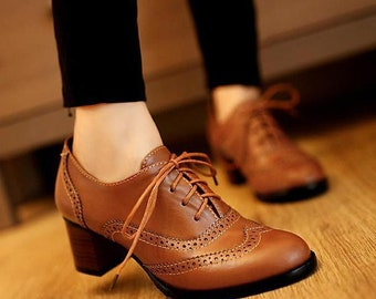 Woman Shoes, Woman British Style Carved Classy Lace Up Oxford Shoes