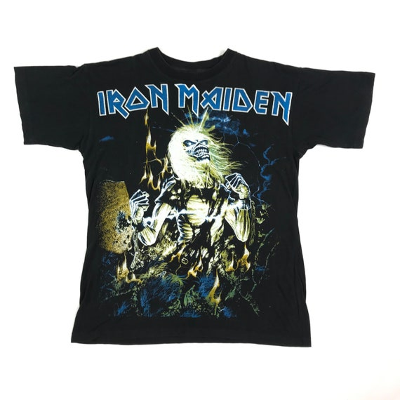 vintage 80s bootleg iron maiden gothic rock band … - image 1