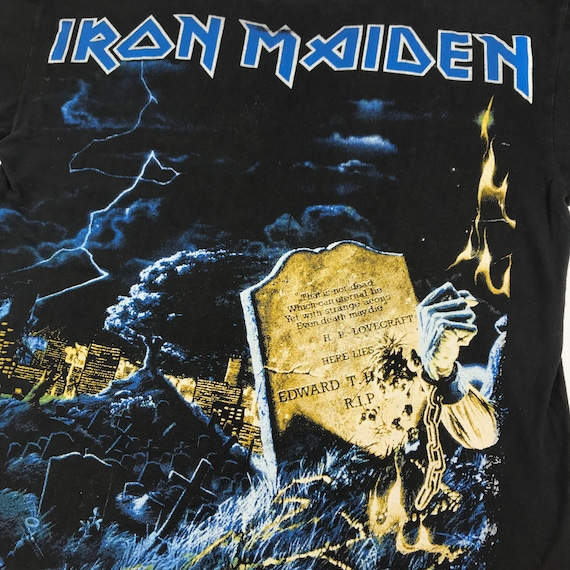 vintage 80s bootleg iron maiden gothic rock band … - image 5