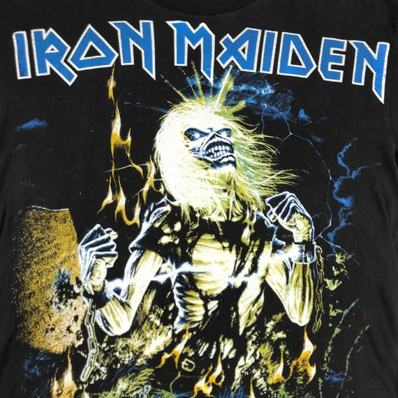 vintage 80s bootleg iron maiden gothic rock band … - image 2