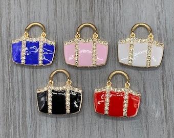 Bag Charm Pendants 2 Red Handbag Charms 20mm 3D