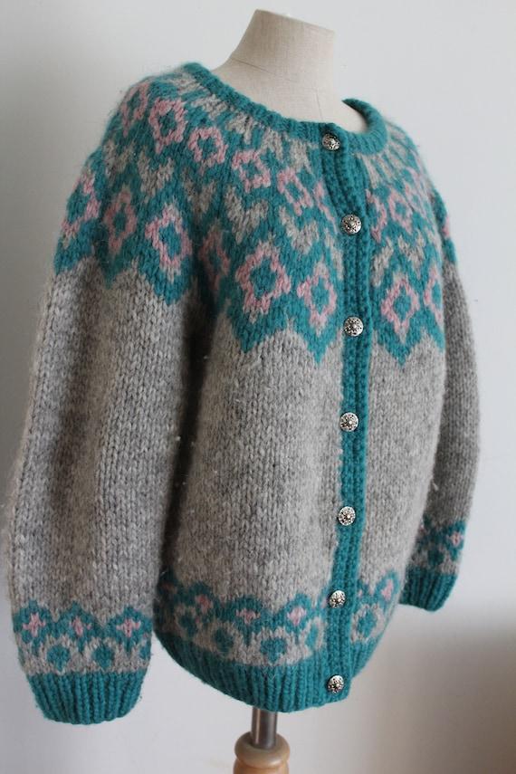 Icelandic Lopapeysa Sweater Hand Knit Cardigan