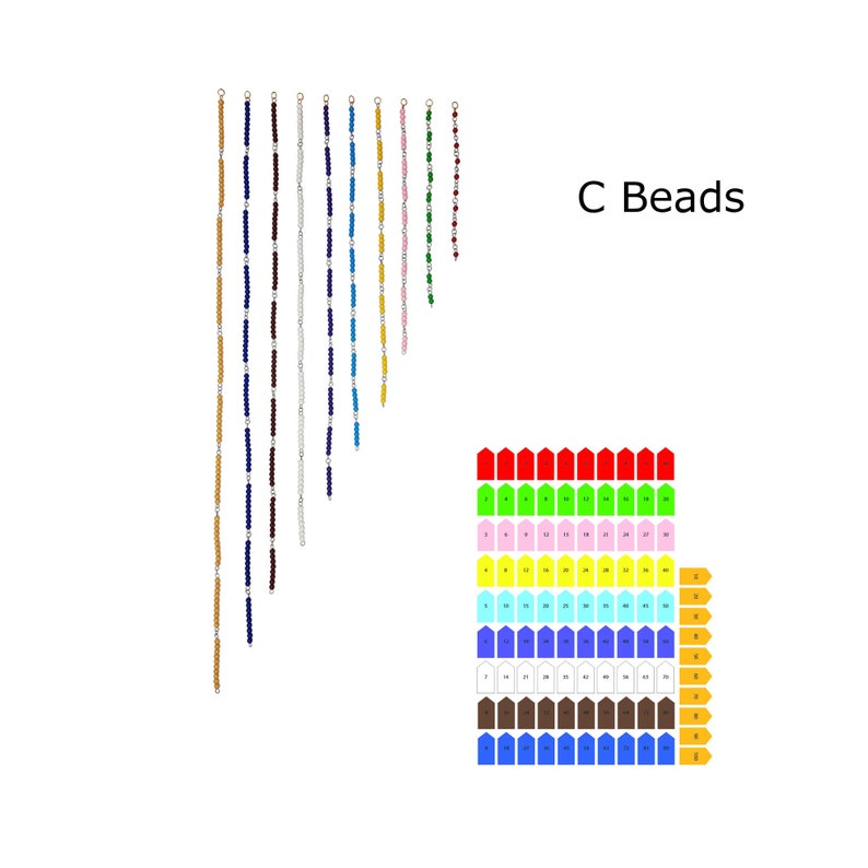 PDF IFIT Montessori Math Material  Montessori Multiplication toy PDF Times Table Bead Chains  Arrows Wooden Hanger  Worksheets