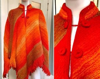 Vintage 70s Orange Wool Poncho, OSFM
