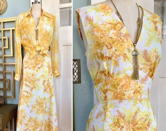 Vintage 70s Yellow and Gold Floral Print Maxi Dress With Chiffon blouse, M, L