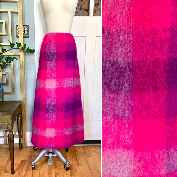 Vintage 60s Day Glo Pink Mohair Maxi Skirt, M