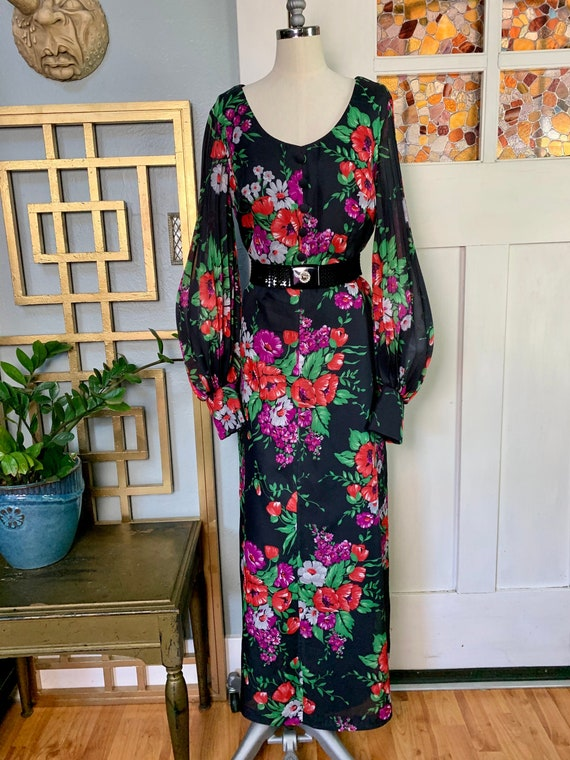 Vintage 70s does 30s Poly Chiffon Maxi Dress, Curv