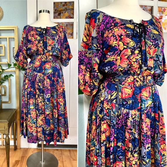 Vintage 80s Floral Rayon Dress by Together, Curvy,