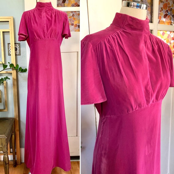 Vintage 70s Dusty Pink Velvet Maxi Dress, S