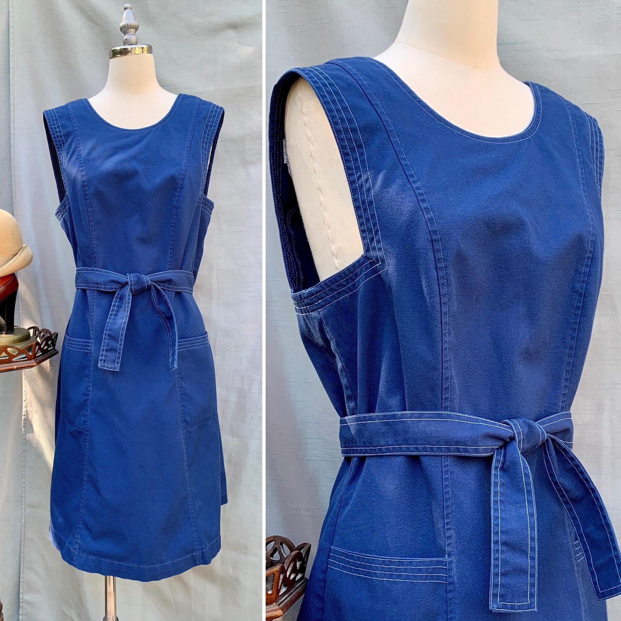 Vintage Aprons, Retro Aprons, Old Fashioned Aprons & Patterns Vintage 70S Edith Head For Pan Am Airlines Uniform Wrap Dress, S, M $98.00 AT vintagedancer.com