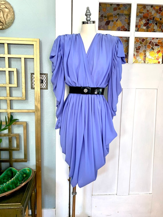 Vintage 80s Ruched and Draped Lavender Chiffon Dre