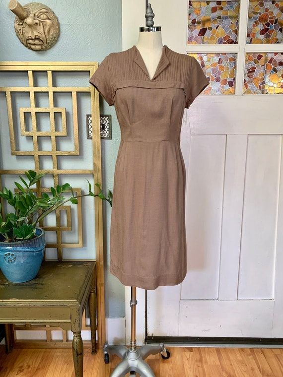 Vintage 50s Linen Toni Todd Wiggle Dress, S