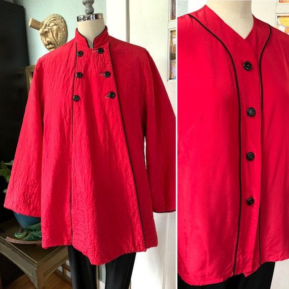 Vintage 40s 50s Loungewear Top and Jacket Set, M,