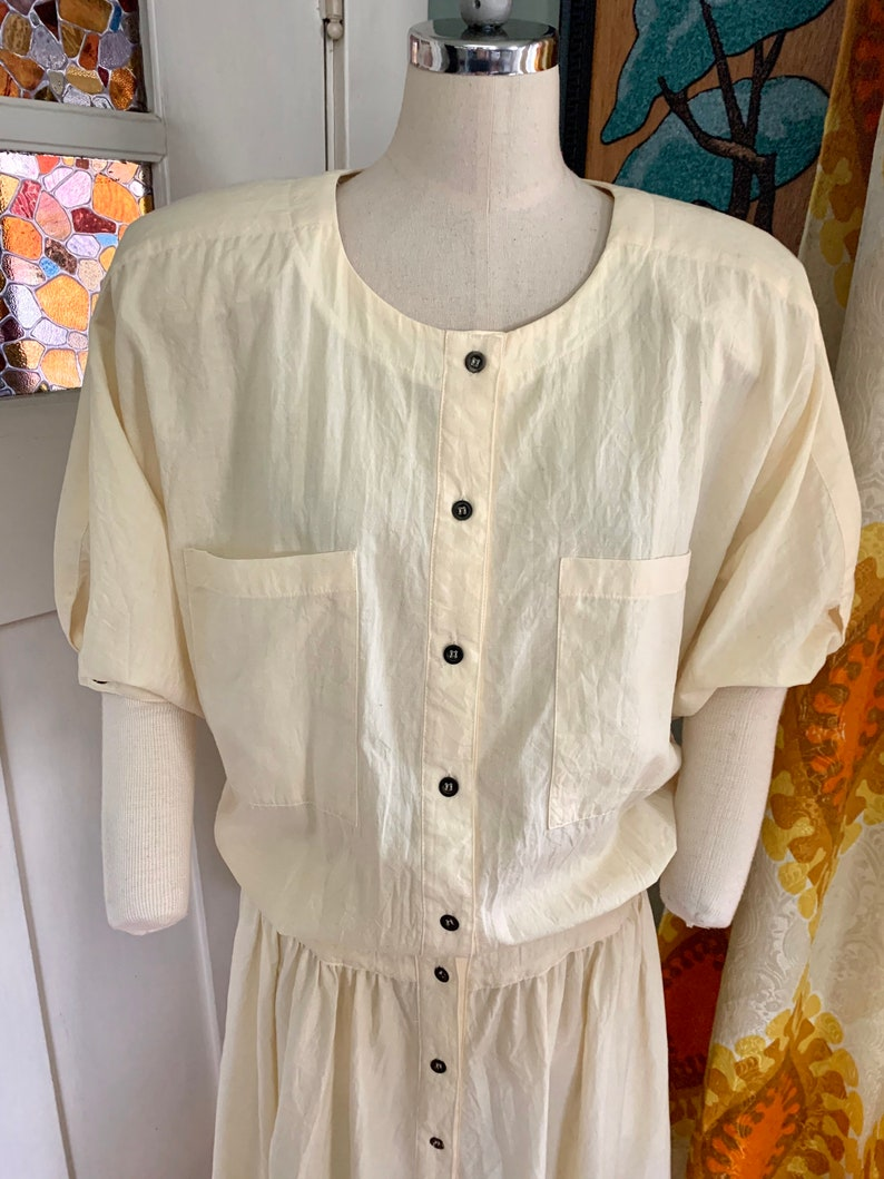 Vintage 70s Pale Yellow Cotton Dress by Jerell S