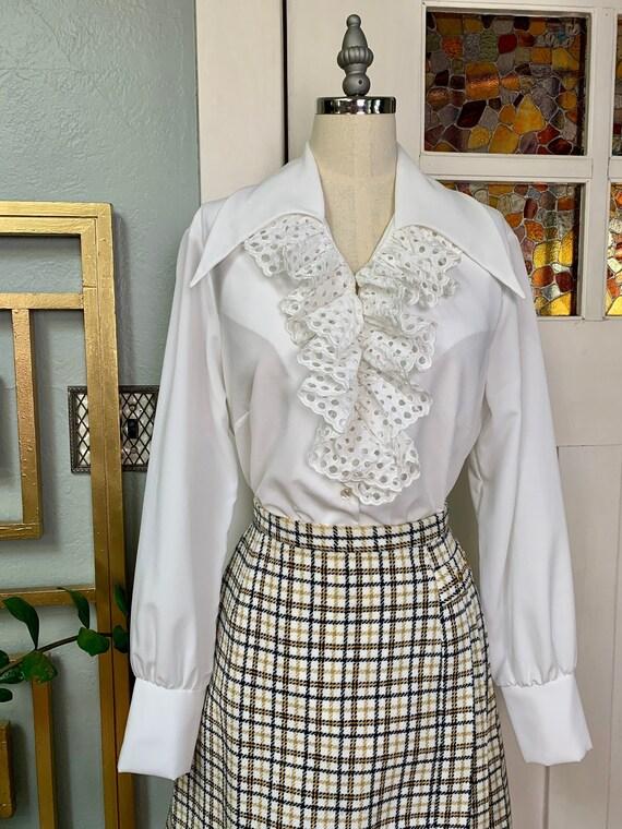 Vintage 60s White Blouse with Ruffled Jabot and La