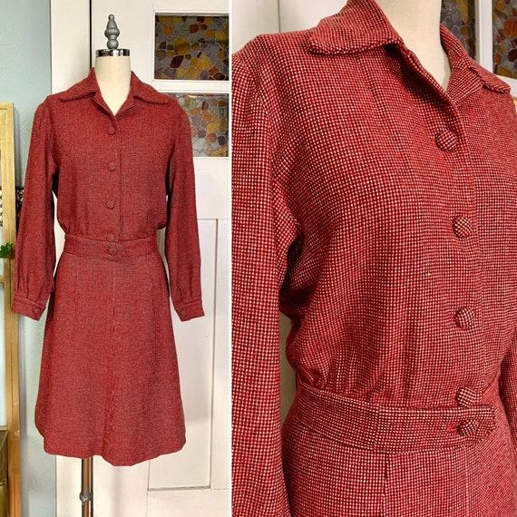 Vintage 40s Wool Tweed Jacket and Skirt Set, M, L