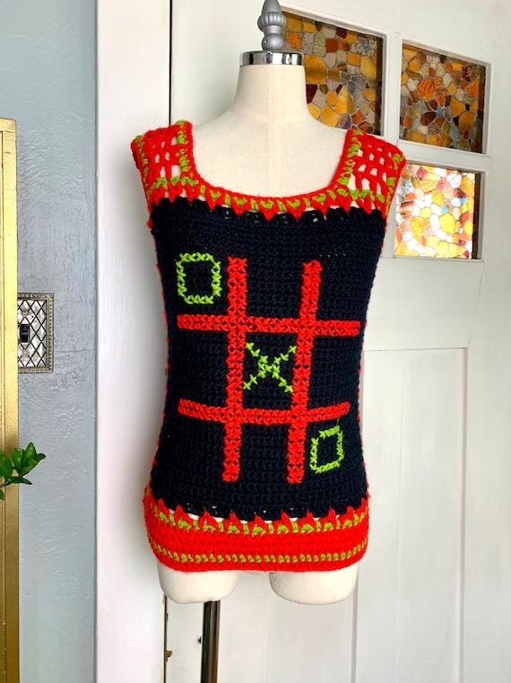 Vintage 70s Hand Crochet Sweater Vest, S - image 1