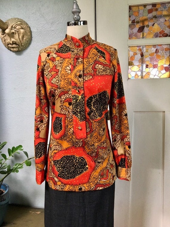 Vintage 60s Psychedelic Print Tunic Blouse, S