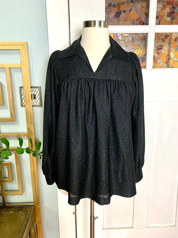 Vintage 60s Black and Silver Lurex Smock Style Blo