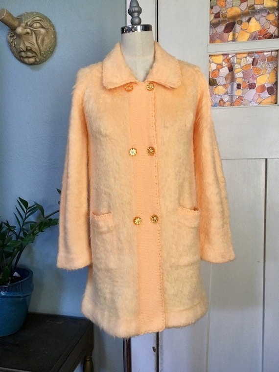 Vintage 60s Faux Mohair Cardigan Sweater Jacket, O