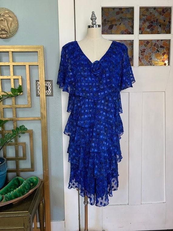 Vintage 70s Cobalt Blue Chiffon Flutter Dress, M