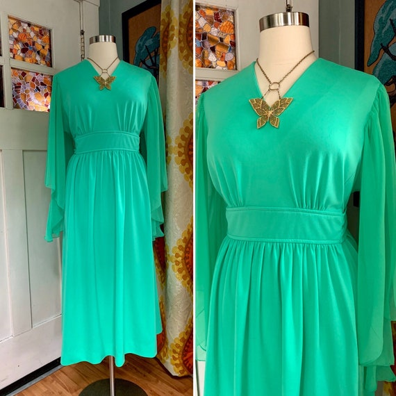 Vintage 70s Glowing Green Angel Sleeves Dress, Cur