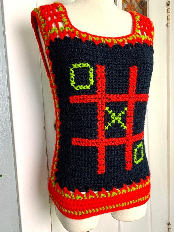 Vintage 70s Hand Crochet Sweater Vest, S - image 2