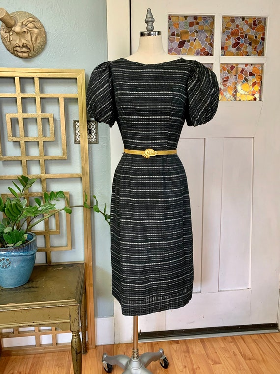 Vintage 50s Puff Sleeve Wiggle Dress by Jerry Gild