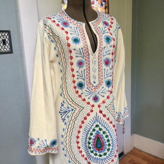 1970s embroidered cotton caftan