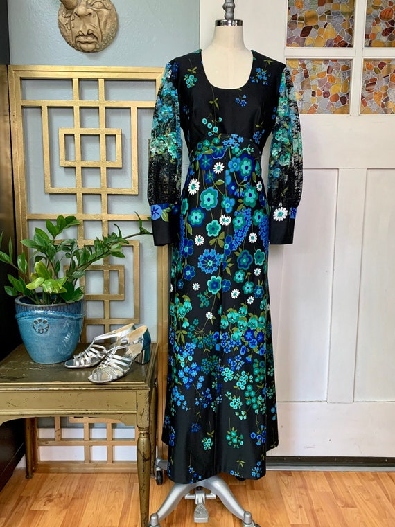 Vintage 70s  Lace Sleeves Floral Maxi Dress, M