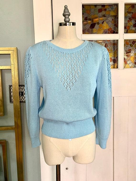 Vintage 70s Light Blue Puff Sleeve Sweater, S