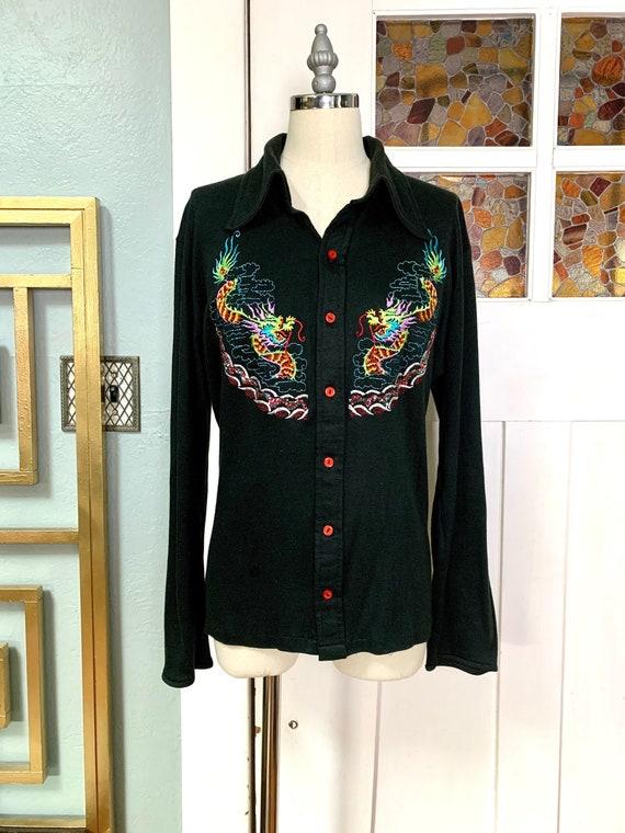 Vintage 70s Dragon Embroidery Cotton Dagger Collar