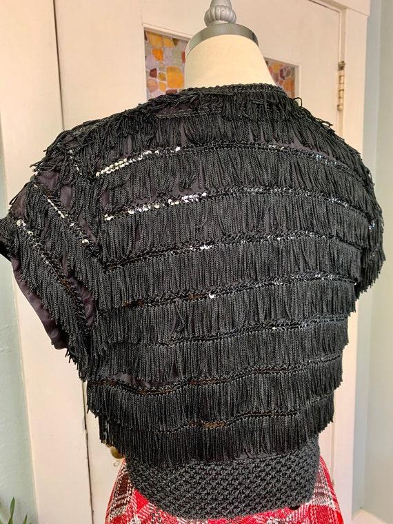 Vintage 40s Black Rayon and Fringe Bolero Jacket,… - image 5