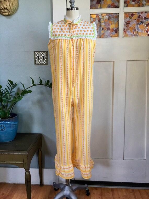 Vintage 70s One Piece Wide Leg Pajamas, Beach Cove
