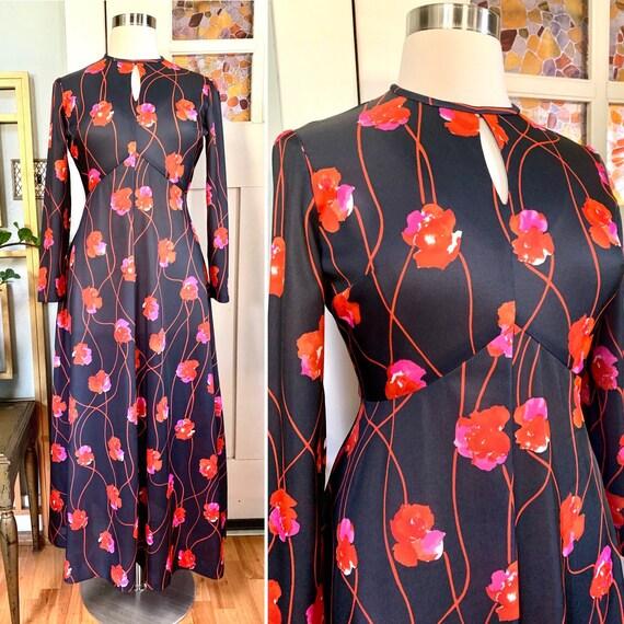 Vintage 70s Black Floral Print Maxi Dress, Curvy,