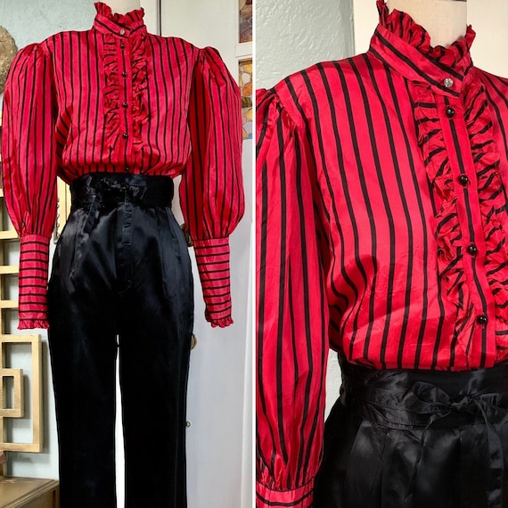 Vintage 70s does Victorian Red with Black Stripes