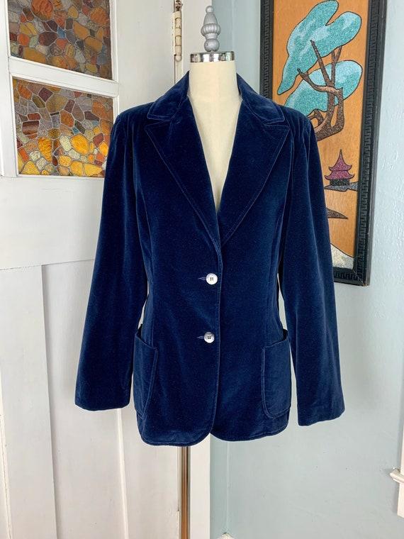 Vintage 70s Blue Velvet Blazer by Koret of Califor
