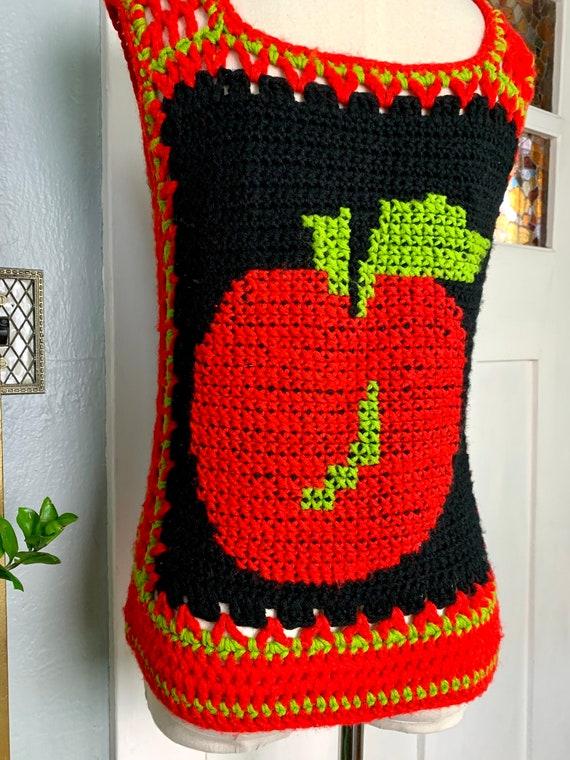 Vintage 70s Hand Crochet Sweater Vest, S - image 6