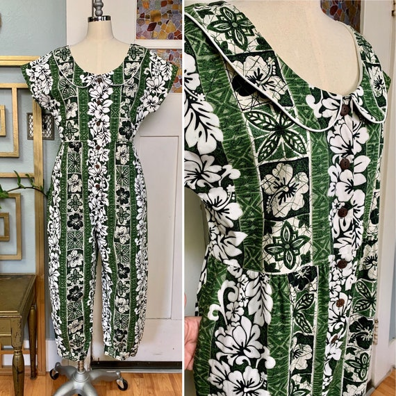 Vintage 80s Tropical Print Jumpsuit Made in Hawaii