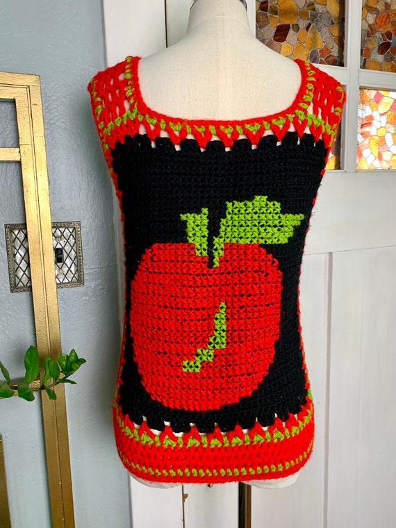 Vintage 70s Hand Crochet Sweater Vest, S - image 5