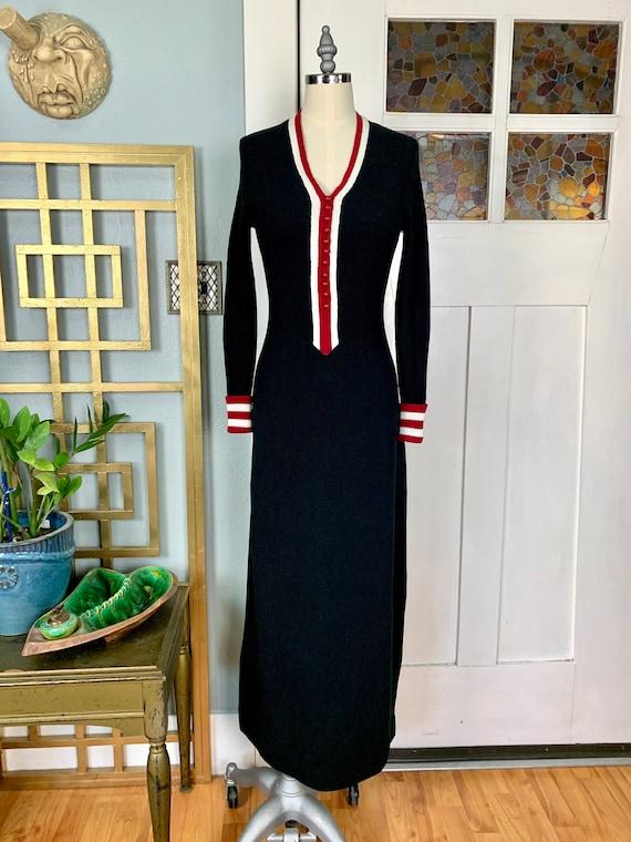Vintage 70s Ribbed Sweater Knit Black Maxi Dress,