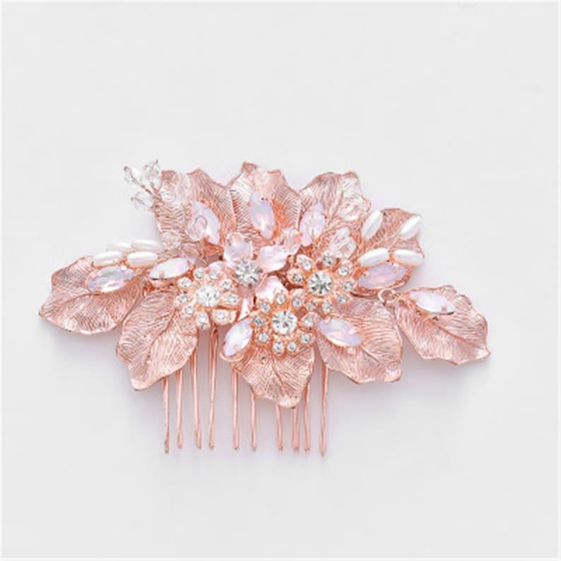Bridal Comb Tiara Handmade Beads Crystal Rhinestone Pearls Comb Pink Flower Wedding Beads Comb Bridesmaid Headdress Bride Gifts