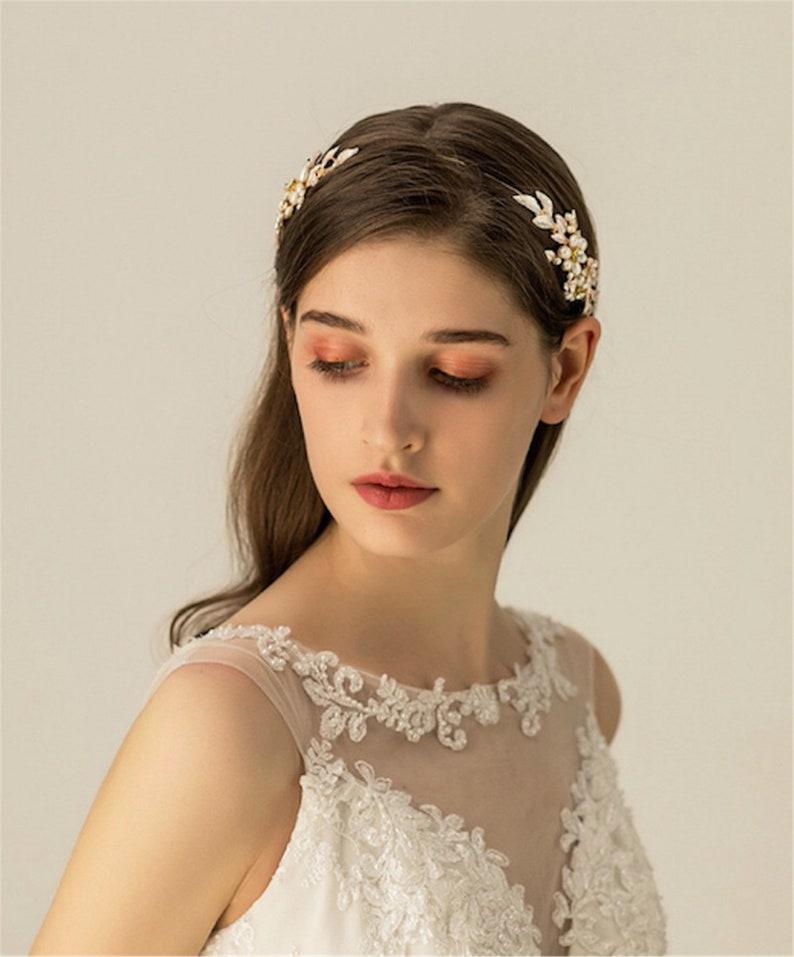 Pearl Hair Vine Pearl Rhinestone Headband Pearl Hair Vine Bridal Wedding Headband Crystal Wedding Tiara Accessories Bridesmaid Hairband