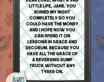 What A Sad Little Life, Jane - Come Dine With Me- Kitchen Wall Print