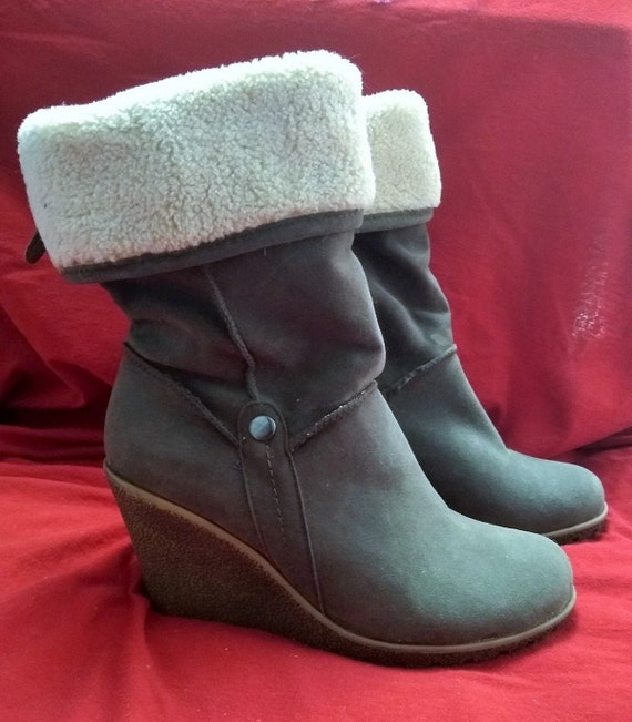 Grey Wedge Boots