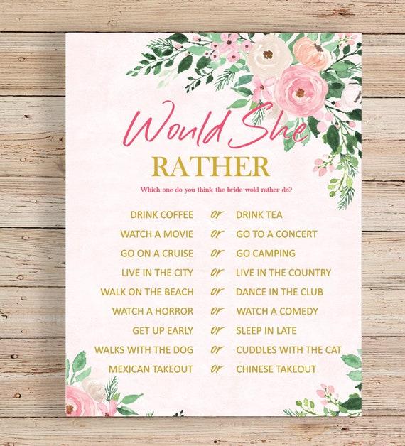 wedding shower bridal shower game printable baby shower game would she rather game  blush pink floral