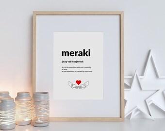 Meraki definition print   Greek quote   typography wall art   poster print   black and white print   Greek wall art   home decor   wall art