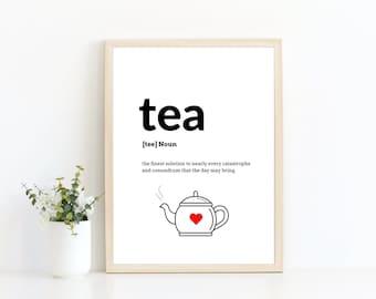 Tea definition print   home decor   kitchen print   wall art print   home decor gift   gift for her   gift for him   new home gift   A4